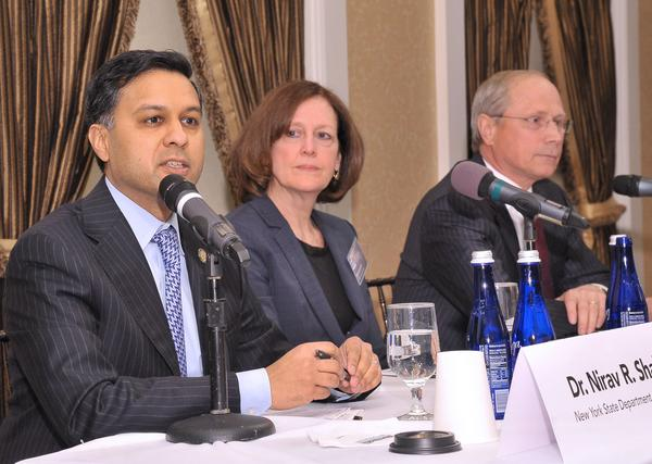 The Power Breakfast panel: NYS Health Commissioner Dr. Nirav Shah; Ruth Anne Hackett, Leader, GE Power and Water Health Services and Dr. James Reed, president and CEO of St. Peter's Health Partners.