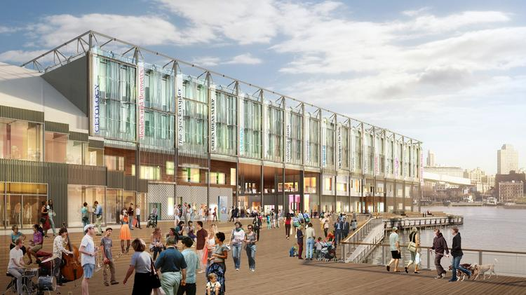 The new Pier 17 building will feature a glass façade encompassing an array of stores and restaurants.
