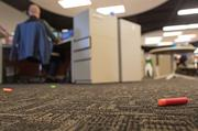 Nerf bullets litter the floor at Videology, where CEO Scott Ferber frequently comes out of his office firing a Nerf gun toward various departments in the open space.