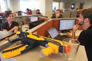 A Nerf guns sits atop a cabinet in Videology's Locust Point office.