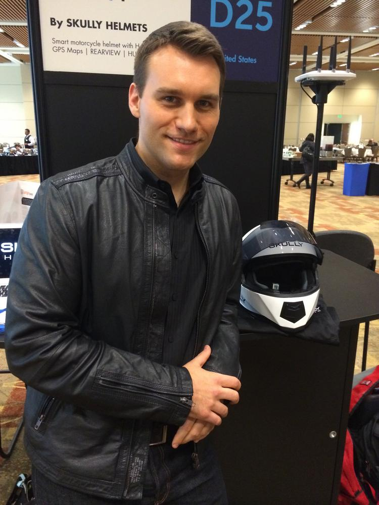 """Skully Helmets, led by CEO Marcus Weller, won one of the coveted Demo God awards at this week's Demo Fall show in Santa Clara. The Redwood City company's """"smart helmets"""" give bikers rear view video and turn-by-turn directions."""
