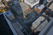 A view of the stalled Park Avenue West construction site. This image was taken from the roof of Fox Tower.