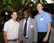Abel Oereira of Zanker Road Resource Management, Finnegan Mwape of Twining and James Willsie of HGA Architects, pose at the Sacramento Regional Builders Exchange mixer.