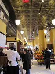The new store at Franklin House makes use of historic tin ceilings and butcher shop-style black-and-white tile.