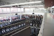The center has a walking track overlooking the exercise room.