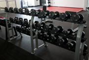An extensive variety of free weights also are available for student use.