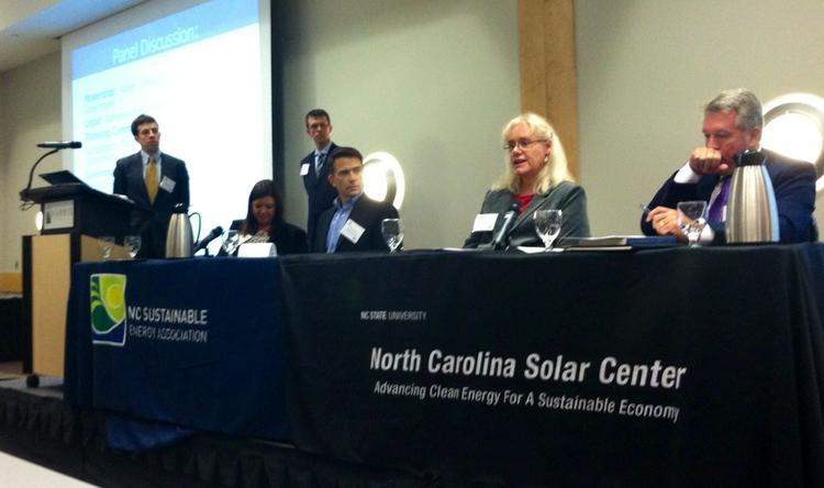 Catawba County Planner Susan Ballbach, second from right, makes a point at the Template Solar Ordinance Forum. Others, from left, are Tommy Cleveland, Katherine Ross, Adam Lovelady, Dennis Richter and Michael Brown.