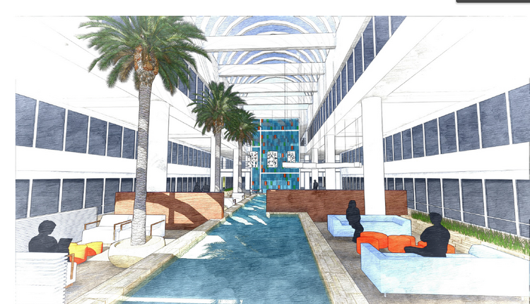 A sketch of the proposed lobby renovations at the Biltmore Commerce Center.