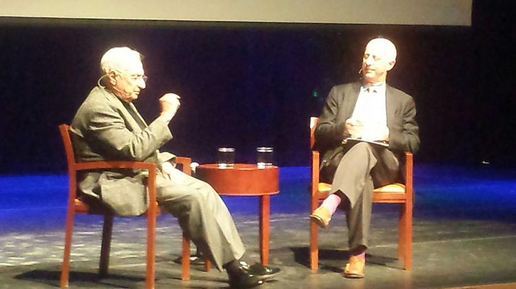 Star architect Frank Gehry, left, with journalist and architect critic Paul Goldberger, discussed Facebook's new campus during a discussion at UCSC.