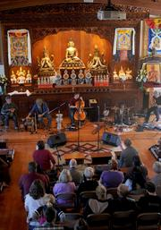 The Vajra band takes the stage with members of the Tibetan community, musical folk and the Flying Mystics to bring a unique, musical experience blended with traditional Tibetan songs