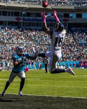 St. Louis Rams wide receiver Austin Pettis goes up high for a pass in the end zone, but is unable to make the catch.