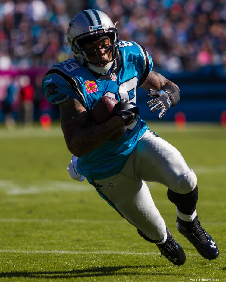 Carolina Panthers wide receiver Steve Smith heads upfield after making a catch Sunday versus the St. Louis Rams at Bank of America Stadium.