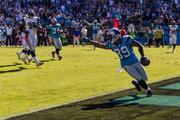 Carolina Panthers wide receiver Steve Smith exults as he crosses into the end zone for a touchdown.