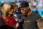 Carolina Panthers wide receiver Steve Smith is interviewed following the team's 30-15 win against the St. Louis Rams.
