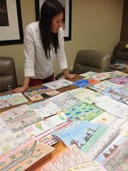 Sasha Glassman, co-author of the Jeremy Jackrabbit series, selects artwork for the latest book.