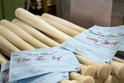 Bats for the St. Louis Cardinals' David Freese, and Boston Red Sox catcher Jarrod Saltalamacchia were prepared Monday at the Louisville Slugger factory.