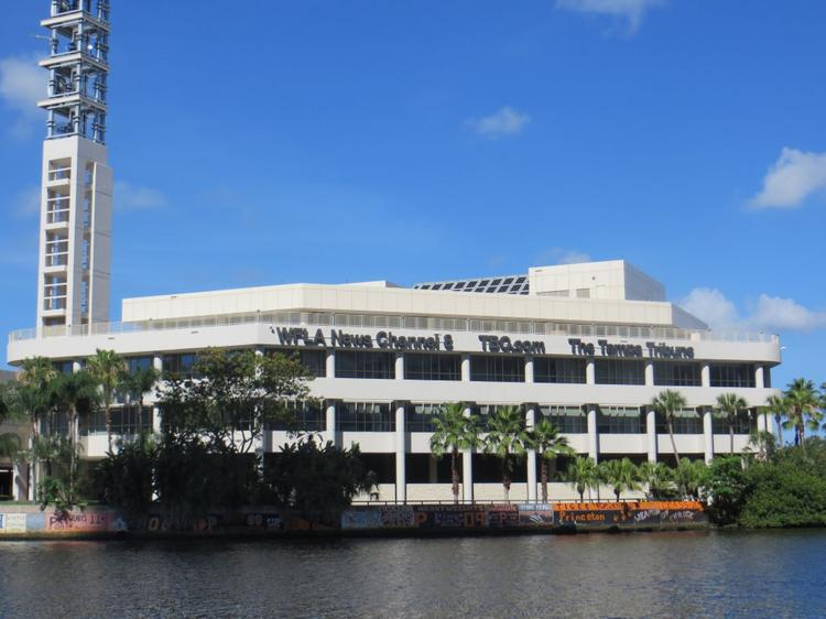 Media General's WFLA-TV Newschannel 8 studio has views of the Hillsborough River and downtown Tampa.