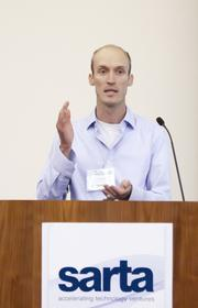 """Tule Technologies chief technology officer Tom Shapland makes a presentation for his """"Company in the Spotlight"""" at the SARTA CleanStart/AgStart Showcase."""