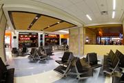 The concession area seating has been improved in the renovated Terminal A.