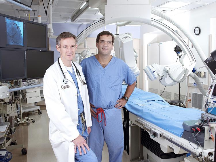 Drs. William Belden, left, and Robert Moraca of Allegheny General Hospital have developed a minimally invasive approach to deal with atrial fibrillation.