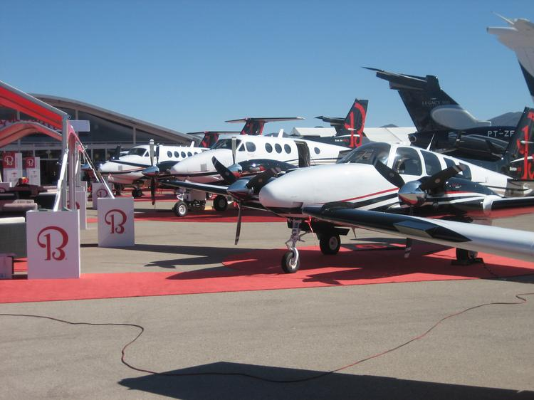 A line of Beechcraft planes stands ready to greet visitors and potential buyers at Henderson Executive Airport, outside Las Vegas. The airport is home to the static displays that are part of the National Business Aviation Association's convention this week.