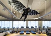 This lifesize piece of art resembling Batman hangs in the gym at the 21c Museum Hotel in Bentonville.