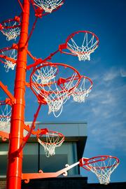 This basketball goal is an outdoor feature at the 21c in Bentonville.