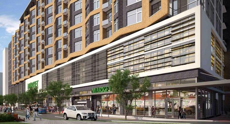 A rendering of the Whole Foods that will anchor a new building at 800 New Jersey Ave. SE.