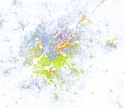 Metro Atlanta. Whites are blue; African-Americans are green; Asians are red; Hispanics are orange; and all other racial categories are coded as brown.