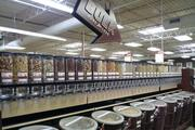 The bulk section offers grains, nuts, rice and coffee.