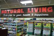 The natural living section sells lipsticks, vitamins and remedies.