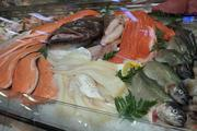 The seafood department is stocked daily.