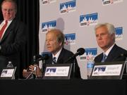 Bill Hankowsky (far left), Lewis Katz and George Norcross at an April 2012 press conference after buying the Philadelphia Inquirer, Daily News and Philly.com.