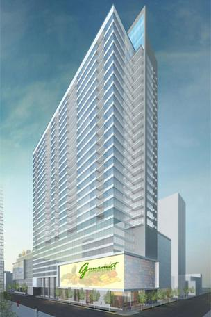 The city of Cincinnati just released plans for a 30-story luxury apartment tower, with a street-level grocery, downtown at Fourth and Race streets.
