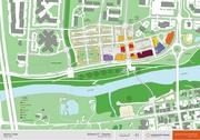 A site plan gives the different uses proposed for the project.