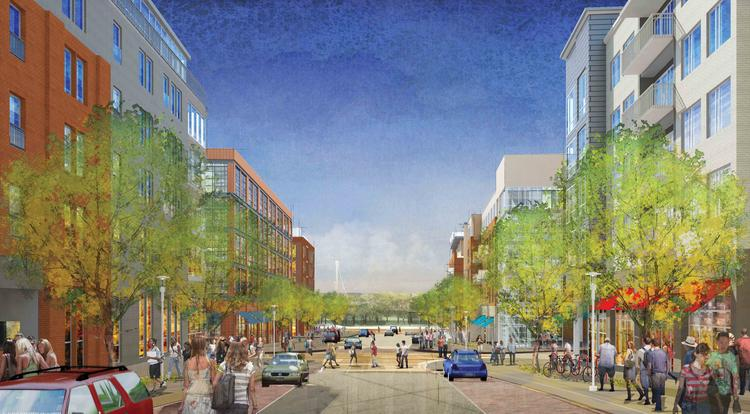 A rendering shows the view looking west down Park Avenue, bisecting Crawford Hoying's proposed Bridge Park development, toward the Scioto River and downtown Dublin.