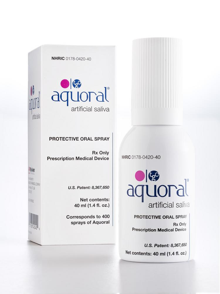Mission Pharmacal Co. has begun selling the Aquoral Oral Spray in prescription drug.