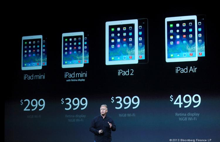 Philip Schiller, senior vice president of worldwide marketing at Apple, speaks about the new iPad Air during a press event at the Yerba Buena Center in San Francisco on Oct. 22.