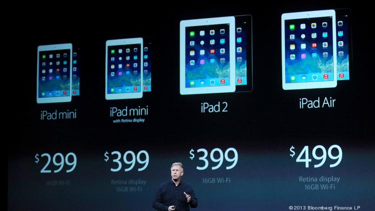 Philip Schiller, senior vice president of worldwide marketing at Apple Inc., speaks about the new iPad Air during a press event at the Yerba Buena Center in San Francisco, California, on Tuesday, Oct. 22, 2013.