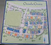 This map shows outlines the 73 homes sites in Orinda Grove and nearby sports field that Pulte Homes built for the City of Orinda.