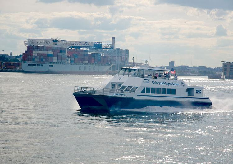 "The MBTA commuter ferry ""Lightning"" heading out of Boston's inner harbor. The MBTA is shutting down service to Quincy's Fore River Shipyard for six months while repairs are made on a damaged dock there."