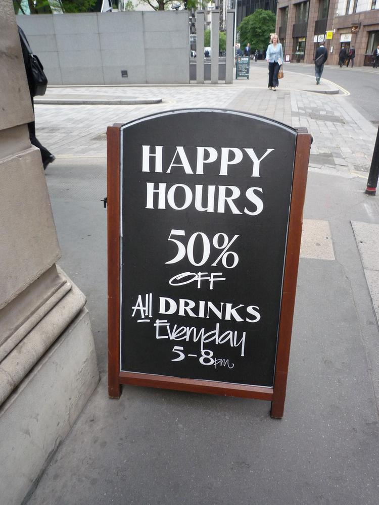 Virginia restaurants are limited on the amount of time they can display a sign advertising happy hour.