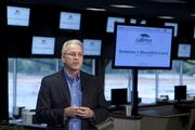 Pinnacle Entertainment CEO Anthony Sanfilippo addresses the press conference at River Downs.