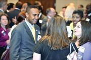 Patrick Cannon mingles with the crowd at the candidates' reception.