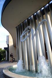 The fountain at the valet gives a hint of the elegant surroundings inside.