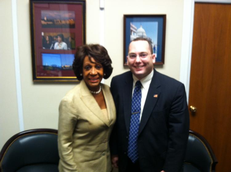 Congresswoman Maxine Waters, who will file a bill calling for tougher money laundering penalties against bankers, with HSBC whistleblower Everett Stern