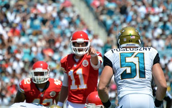 Jacksonville Jaguars middle linebacker Paul Posluszny, right, lines up against Kansas City Chiefs offense int the first quarter of the 2013 season-opening game against Kansas City on the EverBank Field in Jacksonville, Fla. on Sunday, Sept. 8, 2013.