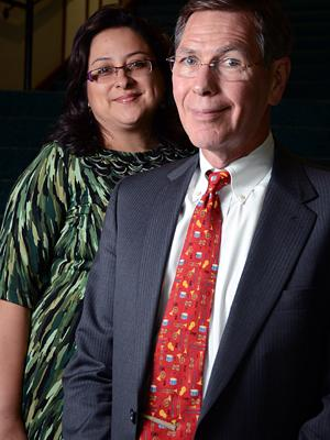 Toni Paz, left, and David Pierson stand in the Times-Union Center for the Performing Arts on Tuesday, Oct. 1, 2013.  Paz is the chief patron office at the Jacksonville Symphony Orchestra.  Pierson is the now-retiring president of the Jacksonville Symphony Orchestra.