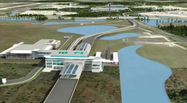 A rendering of Orlando International Airport's automated people mover complex, which is the first portion of its planned $1.1 billion expansion.