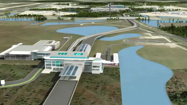 A rendering of Orlando International Airport's automated people mover complex.